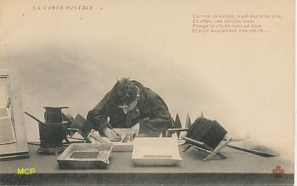 La fabrication des cartes postales vue par Charles COLLAS, exposée au musée de la Carte Postale à Antibes.