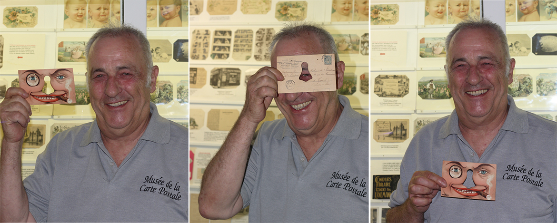 Photo de Christian Deflandre, créateur et animateur du musée de la carte postale, à Antibes.