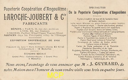 Carte postale de la papeterie Laroche Joubert & Cie, exposée au musée de la carte postale à Antibes.
