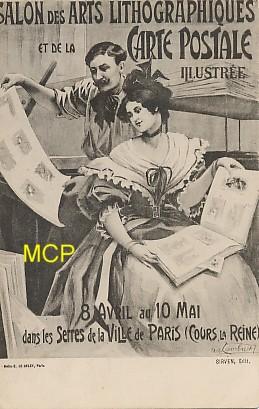 Carte postale présentant le salon des arts lithographique et de la carte postale illustrée, qui se déroulait à Paris, en 1904. Cette carte est exposée dans le musée de la carte postale à Antibes.