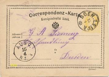 La première Carte Postale au monde, modèle en bohémien.