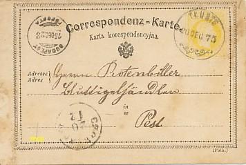 La première Carte Postale au monde, modèle en polonais.