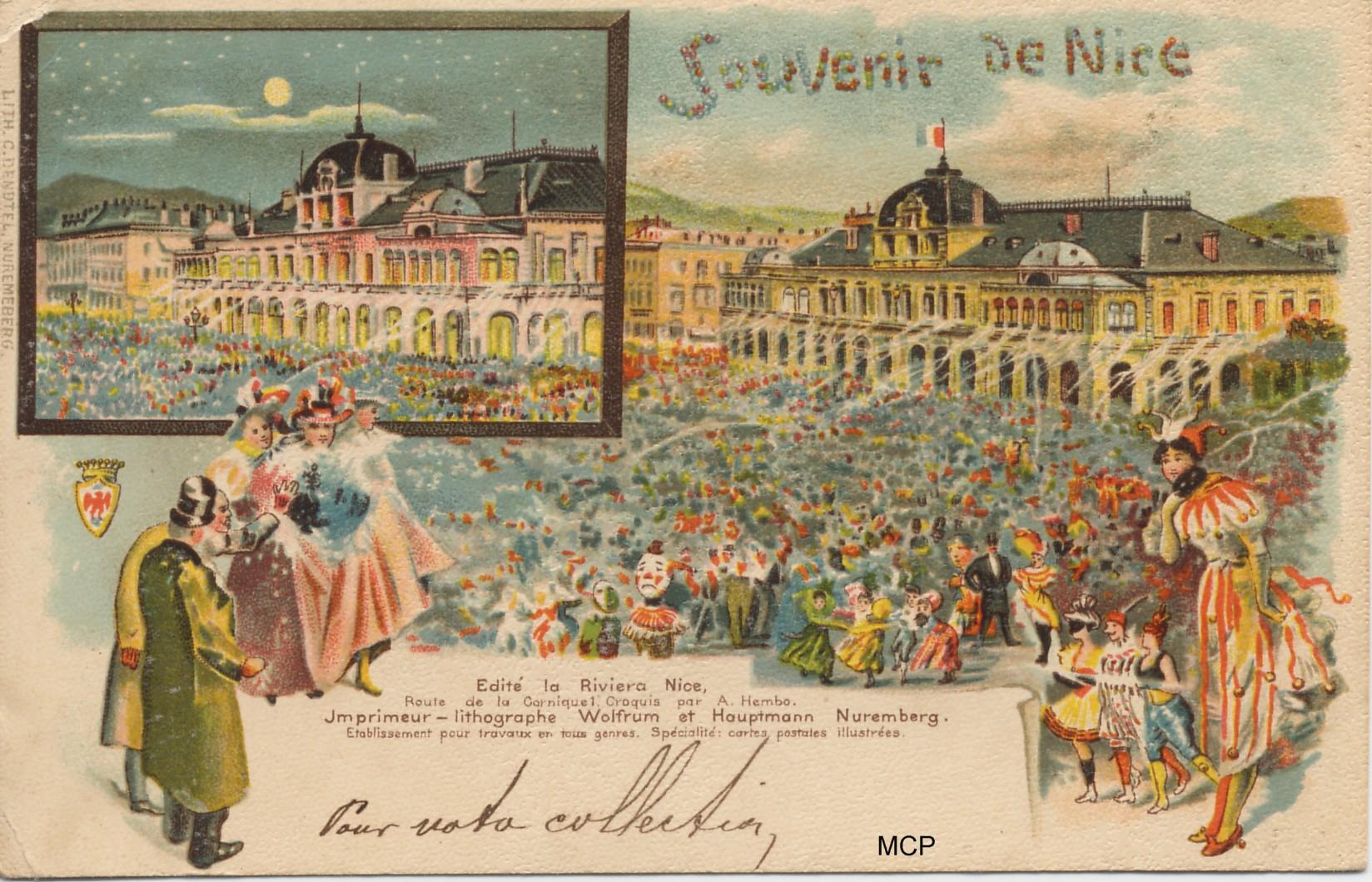 Carte postale commémorative créée par Hembo, suite à la grande exposition de cartes postales à Nice en 1899. Elle est bien sûr exposée dans le musée de la carte postale à Antibes.