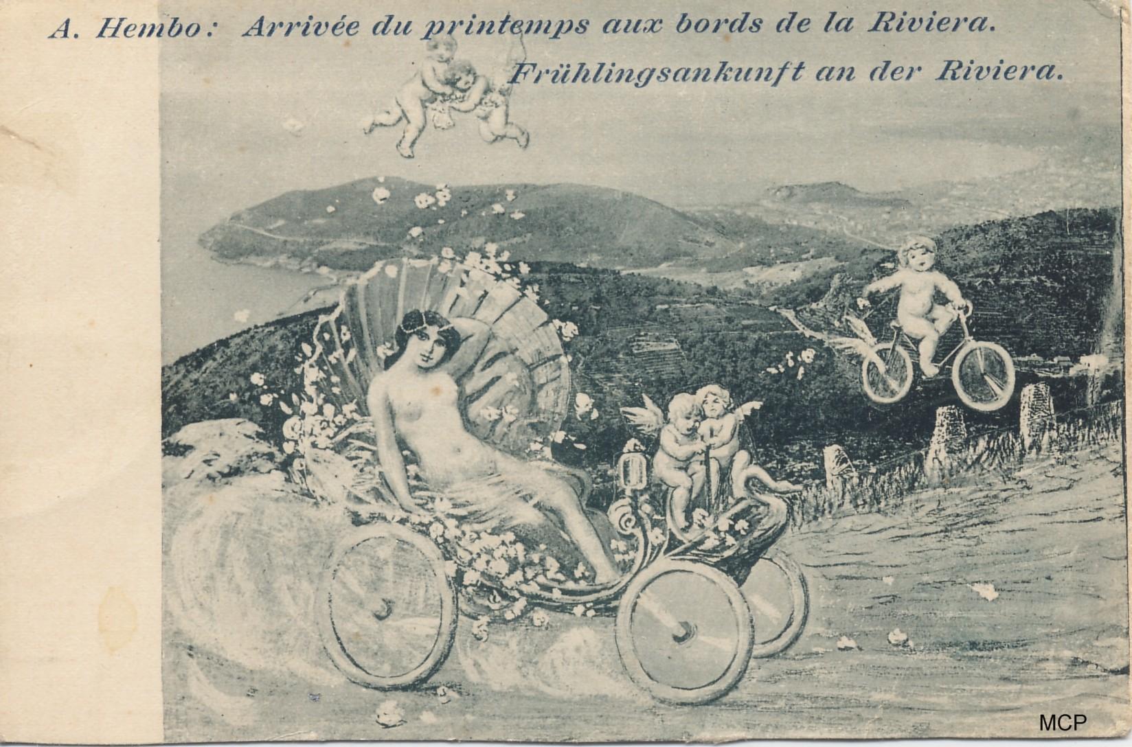Carte postale publicitaire crée par Hembo, annonçant la grande exposition de cartes postales à Nice en 1899. Elle est bien sûr exposée dans le musée de la carte postale à Antibes.