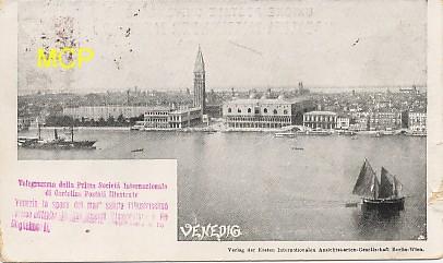 Carte postale publicitaire de la Prima Société Internationale di Cartolina Postale Illustrate, pour la première exposition officielle de cartes postales au monde, en 1898. Celle-ci est bien sûr exposée dans le musée de la carte postale à Antibes.