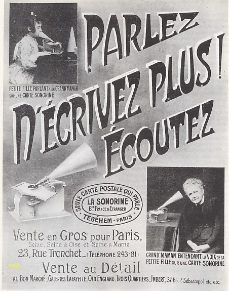 Publicité parue en décembre 1905, dans la revue l'ILLUSTRATION, vantant les avantages des cartes postales disques sonorines.