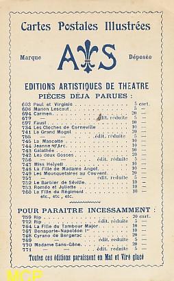 Carte postale publicitaire, représentant le catalogue de l'éditeur de cartes postales AS, exposée au musée de la carte postale à Antibes.