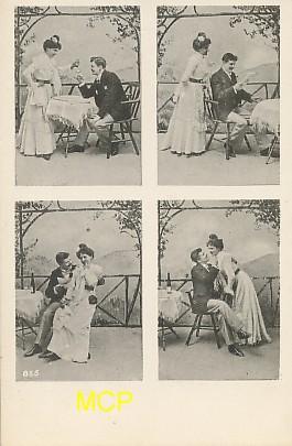 Carte postale publicitaire des représentants en cartes postales, exposée dans le musée de la carte postale à Antibes.