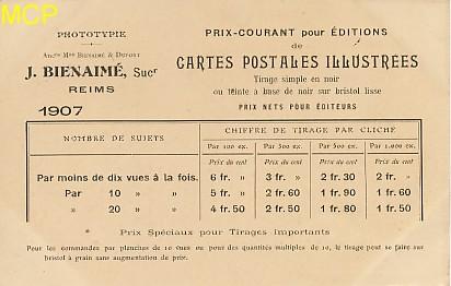 Carte postale publicitaire des éditions J. Bienaimé, exposée dans le musée de la carte postale à Antibes.