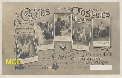 Carte postale ancienne, publicités des éditions Croissant, au comptoir philocartiste, exposée dans le musée de la carte postale à Antibes.
