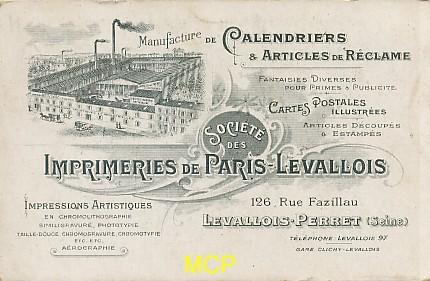 Carte postale publicitaire des imprimeries Paris Levallois, exposée dans le musée de la carte postale à Antibes.