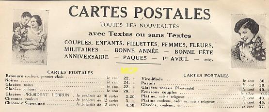 Tarif des cartes postales, en 1933, dans un argus ou catalogue.