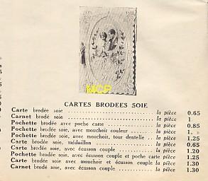 Tarif des cartes postales brodées de soie, en 1933, dans un argus ou catalogue.