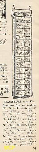 Article publicitaire avec les prix de différents classeurs pour la vente de cartes postales.