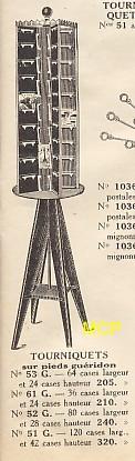 Article publicitaire avec les prix d'un tourniquet pour la vente de cartes postales.