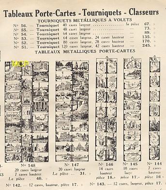 Publicité commerciale pour la vente de tourniquets et panneaux porte-cartes postales, illustrant l'évolution de la valeur commerciale des cartes postales.