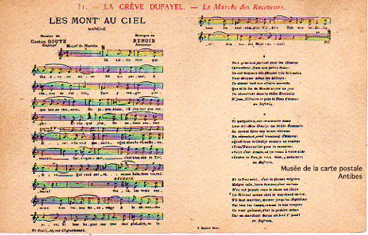 Carte postale ancienne représentant musicalement le chant de la marche des receveurs, lors de la grève des magasins DUFAYEL.