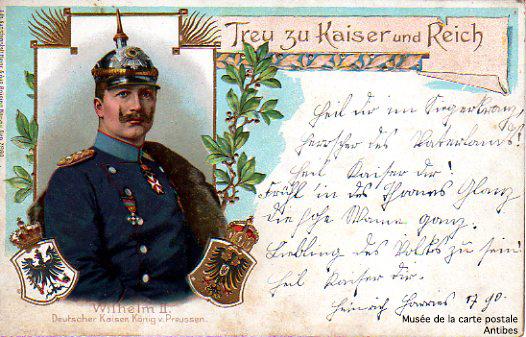 Carte postale politique allemande représentant Guillaume II.