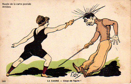 Carte postale illustrant la Boxe Française, canne, bâton, issue de l'exposition temporaire présentée par le Musée de la Carte Postale, à Antibes.