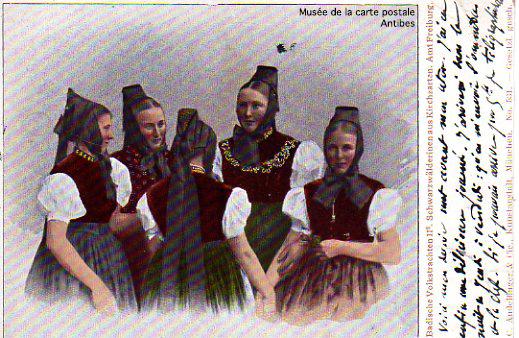 Carte postale représentant le folklore allemand.