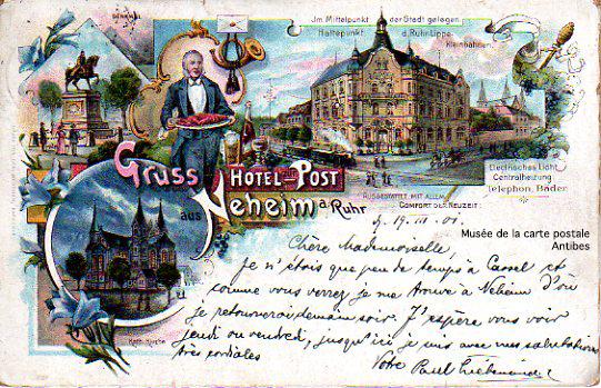 Carte postale publicitaire allemande, pour un hôtel.