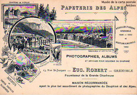 Carte postale publicitaire de la papeterie des Alpes.