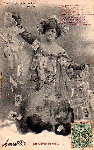 Carte postale représentant la carte postale personnifiée et mise en poème.