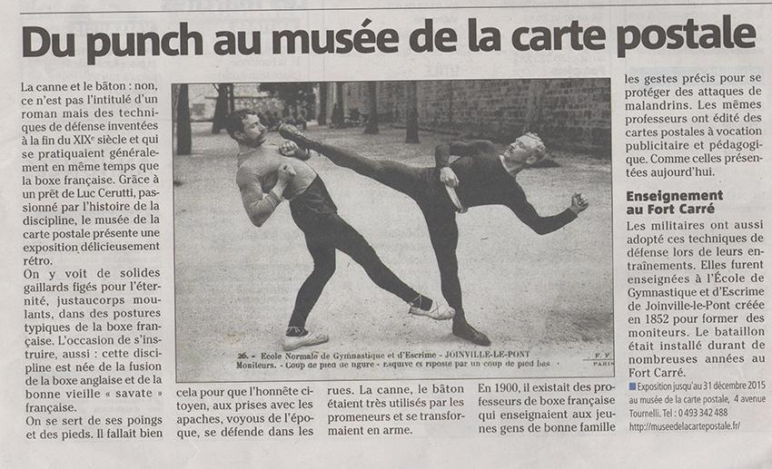 Article de Nice Matin sur la nouvelle exposition du musée de la carte postale, autour de la Boxe Française.