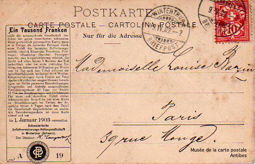 Carte postale assurance datant de janvier 1903.