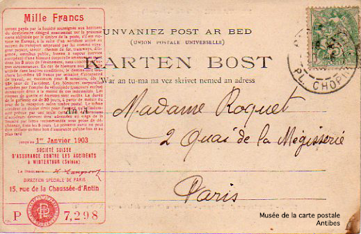 Carte postale assurance, Karten Bost.