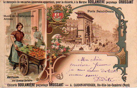 Carte postale assurance, monopole de la marque Chicorée Boulangère.