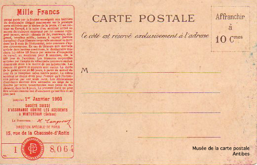 Carte postale assurance de la Winterthur.