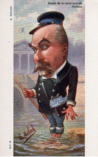 Carte postale humoristique de Moloch, représentant M.Berard, secrétaire d'état aux postes et télégraphes.