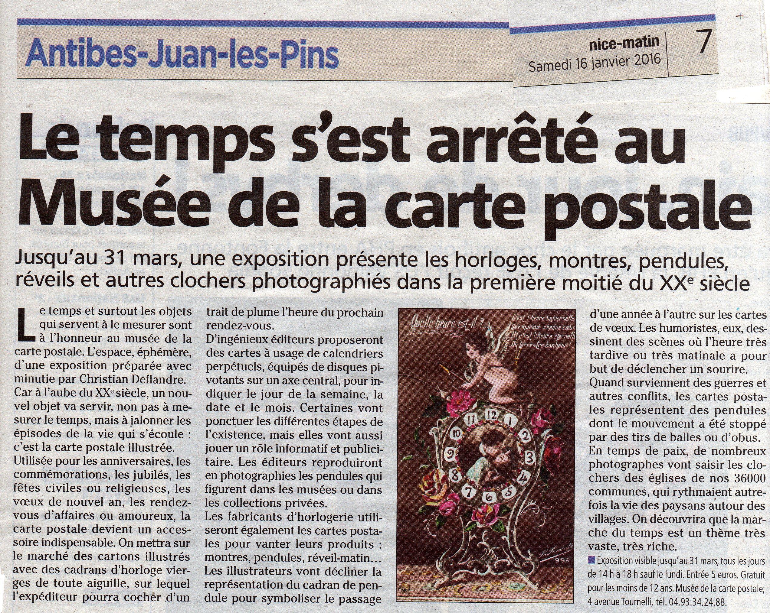 Article de presse de Nice Matin du 16 janvier 2016, sur la nouvelle exposition temporaire du musée de la carte postale.