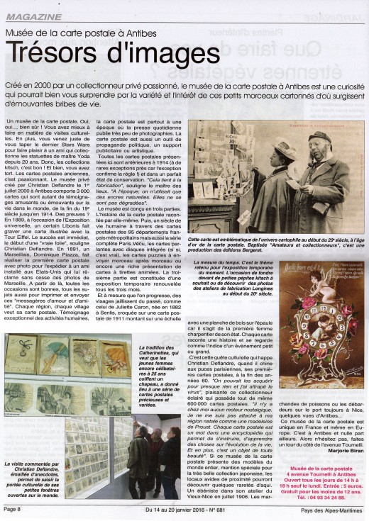 Article de presse du Pays des Alpes Maritimes, de janvier 2016 parlant du musée de la carte postale, d'Antibes.
