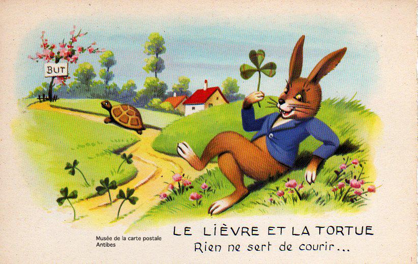 Carte postale illustrant la Fable du Lièvre et de la Tortue.