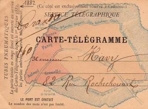 Carte télégramme pour tubes pneumatiques