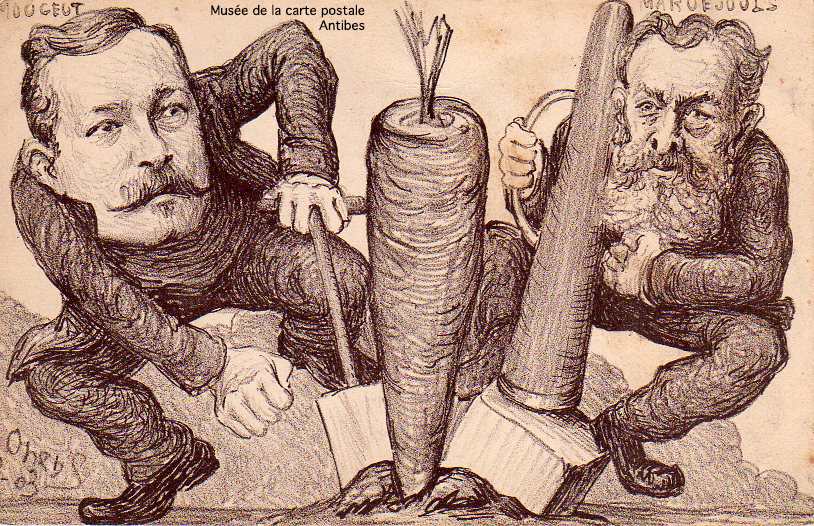 Carte postale illustrée par le caricaturiste ORENS, représentant une carotte pneumatique de Léon Mougeot.