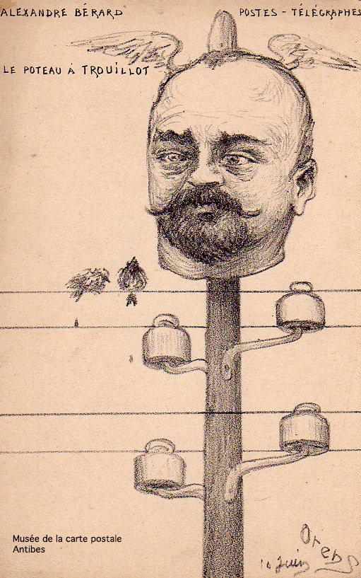 Carte illustrée par le caricaturiste Orens représentant Alexandre Berard, nouveau secrétaire d'état aux postes et télégraphes.