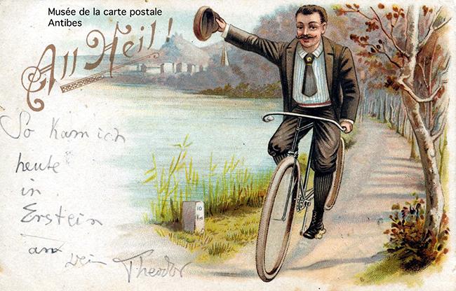 Carte postale ancienne, issue de l'exposition sur la petite reine, bicyclette et vélo du Musée de la Carte Postale, à Antibes.