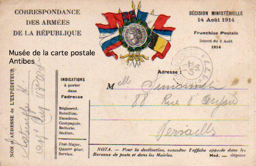 Carte postale de correspondance militaire sous franchise postale de la première guerre mondiale.
