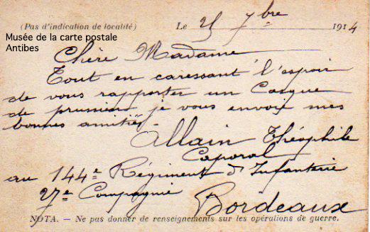 Carte postale de correspondance militaire durant la première guerre mondiale.