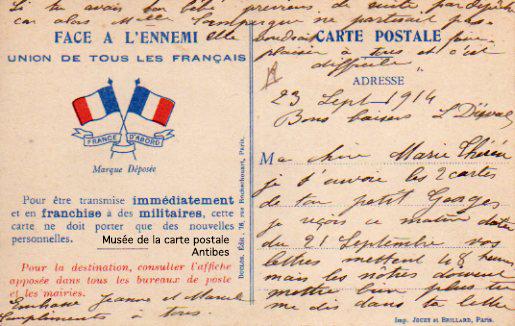 Carte postale sous franchise militaire durant la première guerre mondiale.