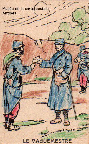 Carte postale illustrée représentant le vaguemestre durant la première guerre mondiale.