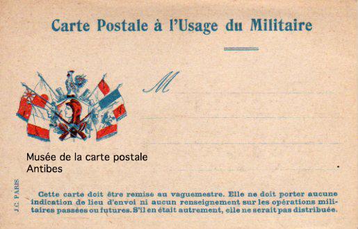 Carte postale à l'usage du Militaire durant la première guerre mondiale.