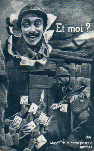 Carte postale représentant le vaguemestre, facteur militaire durant la première guerre mondiale.