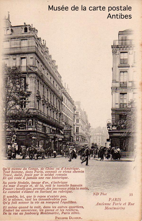Carte postale représentant l'ancienne porte et rue Montmartre à Paris, accompagnée d'un poème de Philippe DUFOUR, aurait pu devenir de bons points d'écoliers.