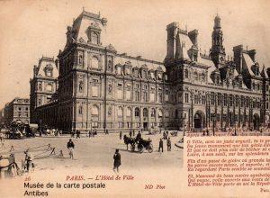 Carte postale représentant l'hotel de ville de Paris, accompagnée d'un poème de Philippe DUFOUR, aurait pu devenir de bons points d'écoliers.