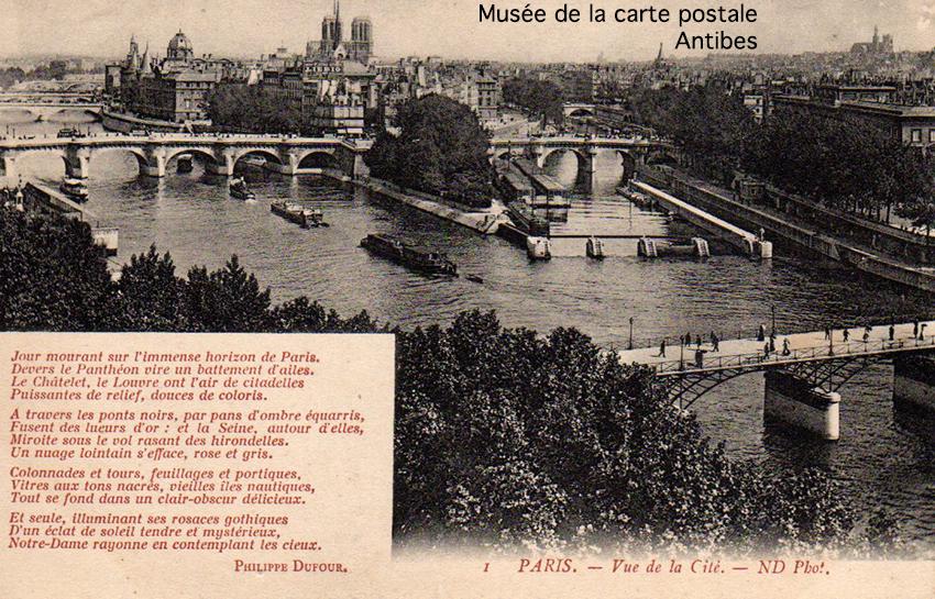Carte postale représentant une vue de la cité à Paris, accompagnée d'un poème de Philippe DUFOUR, aurait pu devenir de bons points d'écoliers.