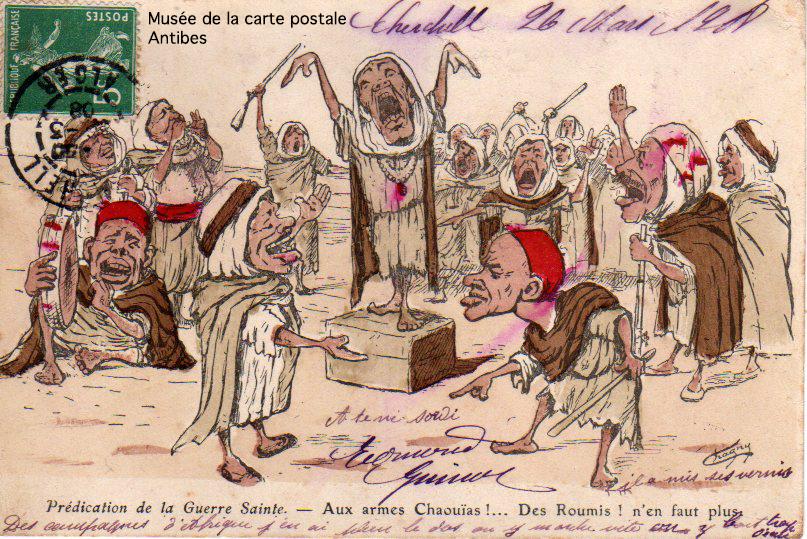 Carte postale ancienne prédication Guerre Sainte, attentat et religion...